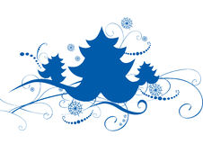 Card with blue christmas trees Stock Photo