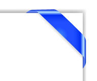 Card with blue colored corner bow Royalty Free Stock Photography