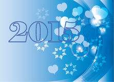2015 card. Blue 2015 card with heart and snowflake Stock Illustration