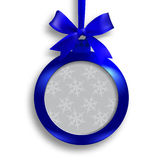 Card. Blue medallion with ribbon and place for an inscription on a white background with shadow. Hanging on a ribbon stock illustration