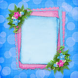 Card with blue and pink orchids Royalty Free Stock Photos