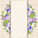 Card with blue, purple and white flowers. Vector eps-10. Stock Photo