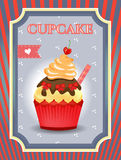 Card - blue, red - Cupcake with bows and cherry on Stock Image
