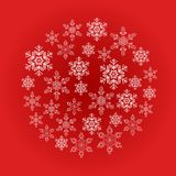Card with blue snowflakes in a circle on a red background. Seasonal winter collection illustration. Vector Illustration