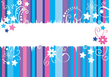 Card with blue and violet lines and flowers. And place for text Stock Photography