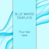Card with blue waves on background. Royalty Free Stock Photos