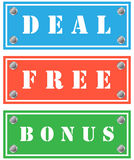 Card board. Deal, free and bonus cardboards for shops Royalty Free Stock Images
