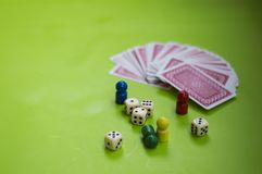 Card, and board game elements. Card and board game elements with dice ideal for background, website, magazines stock images