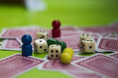 Card, and board game elements. Card and board game elements with dice ideal for background, website, magazines royalty free stock photo