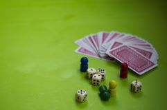 Card, and board game elements. Card and board game elements with dice ideal for background, website, magazines stock photo