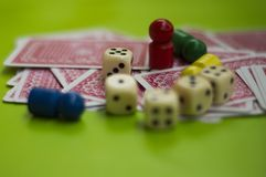 Card, and board game elements. Card and board game elements with dice ideal for background, website, magazines royalty free stock photos