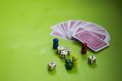 Card, and board game elements. Card and board game elements with dice ideal for background, website, magazines royalty free stock image