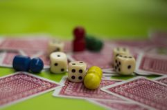 Card, and board game elements. Card and board game elements with dice ideal for background, website, magazines stock photography
