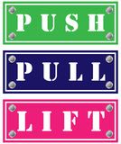 Card boards. Push, pull and lift cardboards for doors Royalty Free Stock Image