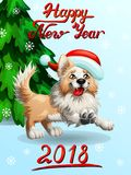 Card Border Collie on light blue. The cheerful yellow puppy of a Border Collie wish red cap and letteing Happy New Year 2018 and fir-tree. A cartoon vector Royalty Free Stock Photos