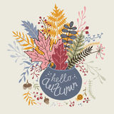 Card with a bouquet of autumn leaves. Vector Stock Image