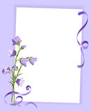 Card with a bouquet of  bluebells and ribbon Stock Photos