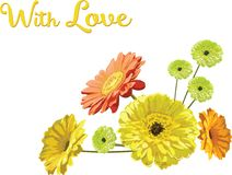 """Card with a bouquet of flowers brightly drawn gerberas and chamomiles, with the inscription """"With Love"""","""