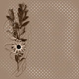 Card with bouquet on old grunge background Stock Image