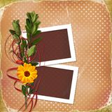 Card with bouquet on old grunge background Stock Photo