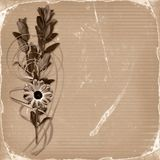 Card with bouquet on old grunge background Royalty Free Stock Photography