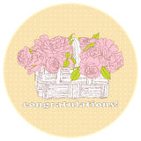 Card with a bouquet of roses Royalty Free Stock Photos