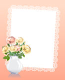 Card with a bouquet of roses Stock Photos