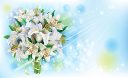 Card with Bouquet of  white lilies Stock Photography