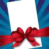 Card with bow and textured background Royalty Free Stock Photos