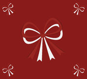 Card with bows on red background Stock Images