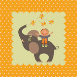 Card with boy on elephant Stock Photo
