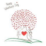 Card with boy and girl and tree of hearts Royalty Free Stock Image