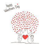 Card with boy and girl and tree of hearts Stock Image