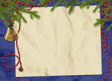 Card with branches the dark blue background. Crushed paper with spruce branches and rope on the dark blue background Stock Photography