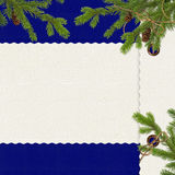 Card with branches on the dark  blue background. Card for congratulation with spruce branches and cone on the dark  blue background Stock Images