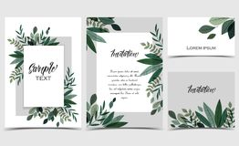 Card with branches and leaf Stock Photo