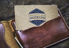 Card On Brown Leather Bifold Wallet Stock Image