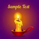 Card with a burning candle Royalty Free Stock Photos