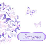 Card with butterflies arranged in semicircle Stock Images