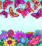 Card with butterflies and flowers blue Stock Photo