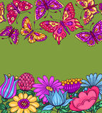 Card with butterflies and flowers green Stock Photo