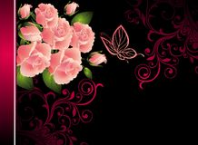 Card  with butterfly  and bouquet of roses Royalty Free Stock Image