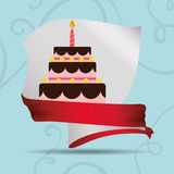 Card cake birthday ribbon Royalty Free Stock Photography