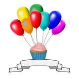 Card, cake flies on balloons vector illustration
