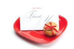 Card,cake nut and ribbon Royalty Free Stock Photo