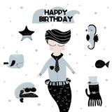 Card with calligraphy lettering happy birthday and composition of underwater doodles and mermaid at the center. Vector. Illustration Stock Image