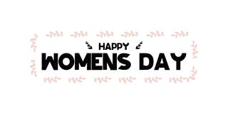 Card with calligraphy lettering happy womens day. Vector illustration in scandinavian style with bouqets and hearts isolated on wh. Ite background. Can be used royalty free illustration