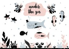 Card with calligraphy lettering under the sea and composition in scandinavian style. Vector illustration Royalty Free Stock Photography