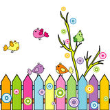 Card with cartoon birds on a fence Royalty Free Stock Image