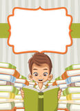 Card with cartoon boy reading books Royalty Free Stock Photography